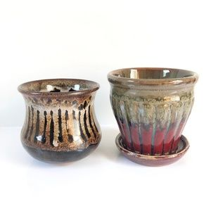 Other - Set of 2 Vintage 70s small glazed ceramic planters